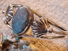Bisbee Web Turquoise Sterling Silver Ladies Bracelet By Navajo Harold Tahe