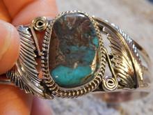 Smokey Bisbee Turquoise Sterling Silver Ladies Bracelet By Navajo Harold Tahe