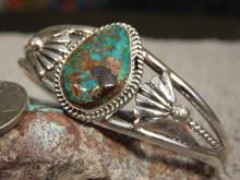 Blue Green Bisbee Turquoise Sterling  Silver Ladies Bracelet Navajo Harold Tahe