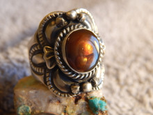 New Sterling Silver Fire Agate Unisex Ring By Navajo Lorenzo James Size 10