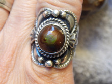 New Sterling Silver Fire Agate Unisex Ring By Navajo Lorenzo James Size 6