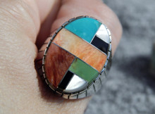 Mens Silver Turquoise Spiny Oyster Inlay Ring Navajo Ray Jack Size 10 1/4