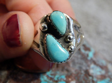Light Weight Unisex Sterling Silver Turquoise Ring Navajo Mary Lincoln Size  12