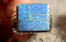 New Mens Sterling Silver Created Opal Inlay Ring Navajo Ray Jack Size 10 3/4