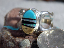 Light Weight Sterling Multi Stone  Unisex Ring Navajo Tommy Lincoln Size 9 3/4