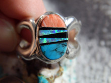 Light Weight Sterling Multi Stone  Unisex Ring Navajo Tommy Lincoln Size 9 1/4