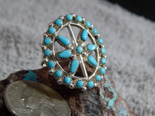 New Ladies Sterling Silver Turquoise Ring by Zuni Artist Delores Peina Size 9