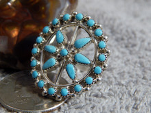 New Ladies Sterling Silver Turquoise Ring  by Zuni Artist Delores Peina Size 7