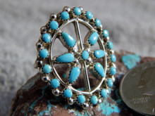 New Ladies Sterling Silver Turquoise Ring  Zuni Artist Delores Peina Size 6 3/4