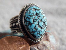 Mens Black Web Turquoise Sterling Silver Ring by Navajo Russell Sam Size 11