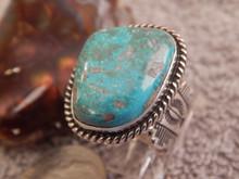 Ladies Bisbee Turquoise Sterling Silver Ring Navajo Robert Shakey Size 8 1/2