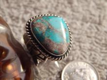 Ladies Bisbee Turquoise Sterling Silver Ring Navajo Robert Shakey Size 4 3/4
