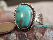 Bisbee Turquoise Silver Adjustable Ladies Ring Navajo Geraldine James Size 8 1/4