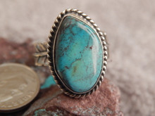 Bisbee Turquoise Silver Adjustable Ladies Ring Navajo Geraldine James Size 8 3/4