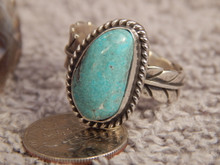 Bisbee Turquoise Silver Adjustable Ladies Ring Navajo Geraldine James Size 9 1/2