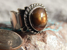Fire Agate Sterling Silver Ladies Ring By Navajo Geraldine James Size 5 1/4