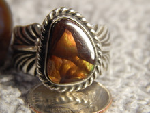 Fire Agate  Sterling Silver Ladies Ring By Navajo Geraldine James Size 9 3/4