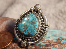 Ladies Bisbee Turquoise Sterling Silver Ring Navajo Russell Sam Size 6 1/2