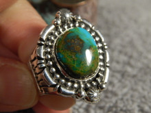 Ladies Bisbee Turquoise Sterling Silver Ring Navajo Russell Sam Size 9
