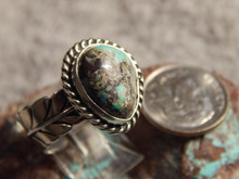 Bisbee Turquoise Silver Adjustable Ladies Ring By Navajo G James Size 8 1/4
