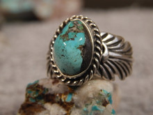 Bisbee Turquoise Silver Adjustable  Ladies Ring By Navajo G James Size 9 1/2