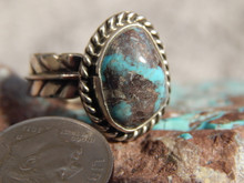 Bisbee Turquoise Silver Adjustable  Ladies Ring Navajo Geraldine James Size 7