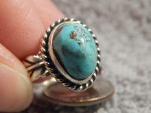Bisbee Turquoise Silver Adjustable  Ladies Ring Navajo Geraldine James Size 9