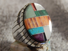 Mens Silver Turquoise Spiny  Oyster Inlay  Ring Navajo Ray Jack Size 11 1/2