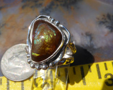 Mexican Fire Agate Gem in Custom Sterling Silver ring   D73