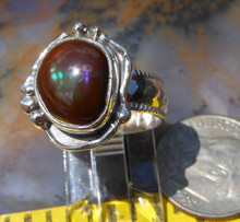 New Sterling Silver and Aguascalientes, Mexico Fire Agate Gem ring   D74