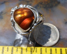 New Sterling Silver and Slaughter Camp AZ Fire Agate Gem ring  sz 7 1/4  D76