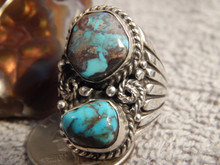 Bisbee Turquoise Sterling Silver Mens Ring y Navajo Russell Sam Size 9 3/4