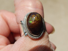 Fire Agate  Sterling Silver Ladies Ring By Navajo Geraldine James Size 8 3/4