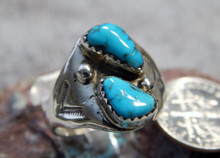 Light Weight Unisex Silver Turquoise Ring Navajo Mary Lincoln Size 9 1/2