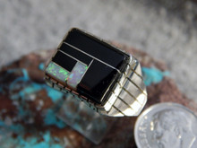 Mens Sterling Silver Created Opal Jet Inlay Ring Navajo Ray Jack Size 12 1/4