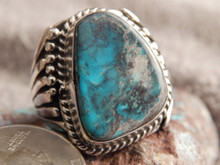 Smoky Bisbee Turquoise Sterling Silver Mens Ring Navajo L. James Size 14 1/4