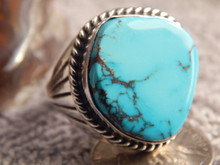 Bisbee Turquoise Sterling Silver Mens Ring Navajo Lorenzo James Size 14