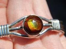 New Sterling Silver Fire Agate Ladies Bracelet By Navajo Harold Tahe