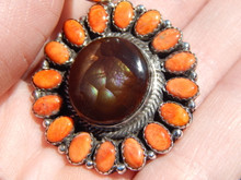 New Sterling Silver Fire Agate Spiny Oyster Pendent Navajo Lorenzo James