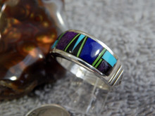 Mens Sterling Silver Lapis Multi Stone Inlay Ring Navajo Rick Tolino Size 9 1/2