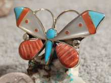 Ladies Sterling Turquoise Coral Butterfly Inlay Ring Zuni Anguse Ahiyite Size 9