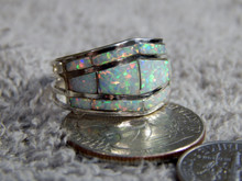 Ladies Sterling Silver Created Opal Inlay Ring Navajo Andrew Enrico Size 8 3/4