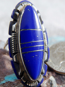Ladies Sterling Silver Lapis Inlay Ring Navajo Steve Francisco Size 8 1/2