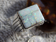 New Mens Sterling Silver Created Opal Inlay Ring By  Navajo Ray Jack Size 10 3/4