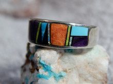 Mens Sterling Silver Multi Stone Inlay Ring Navajo Rick Tolino Size 8