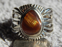 New Fire Agate Sterling Silver Unisex  Ring by Navajo Russell Sam Size 13
