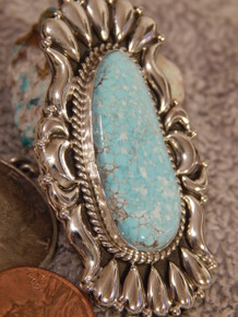New  Bisbee Turquoise Sterling Silver Repoussé Pendant  Navajo Geraldine James