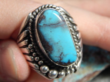 Smoky Bisbee Turquoise Sterling Silver Mens Ring by Navajo R. Sam Size 12 1/4