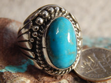 Bisbee Turquoise Sterling Silver Mens Ring by Navajo Russell Sam Size 8 1/4