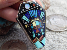 Sterling Silver Jet Turquoise Mirco Inlay Pendant Navajo Calvin Begay Clayton Tom